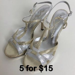 Nina Silver & Gold strappy heels. Size 8M